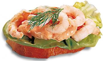 mit pikant abgeschmeckten Krabben (CSv)